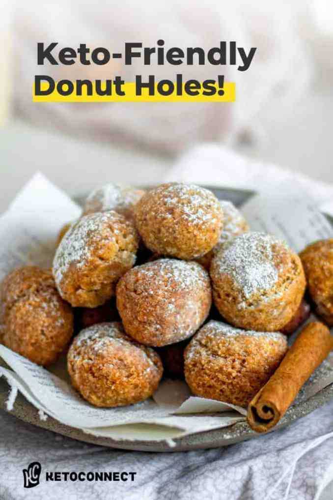 keto donut holes on a plate with powdered sugar