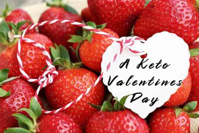 basket of strawberries with a keto valentines day tag