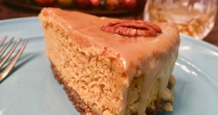 Bourbon Caramel Pumpkin Cheesecake | Keto Cheesecake