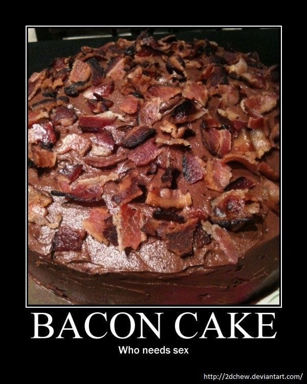 cake made of bacon