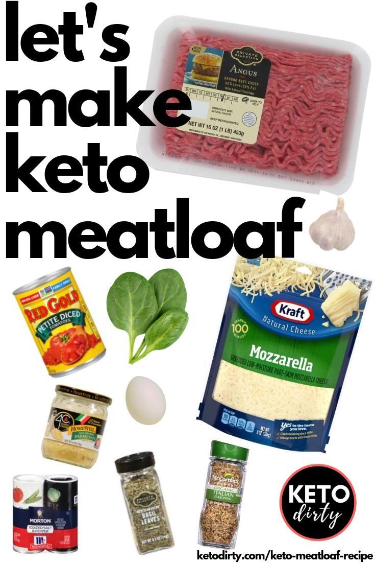 ingredients to make keto meatloaf recipe ground beef tomato garlic cheese salt pepper