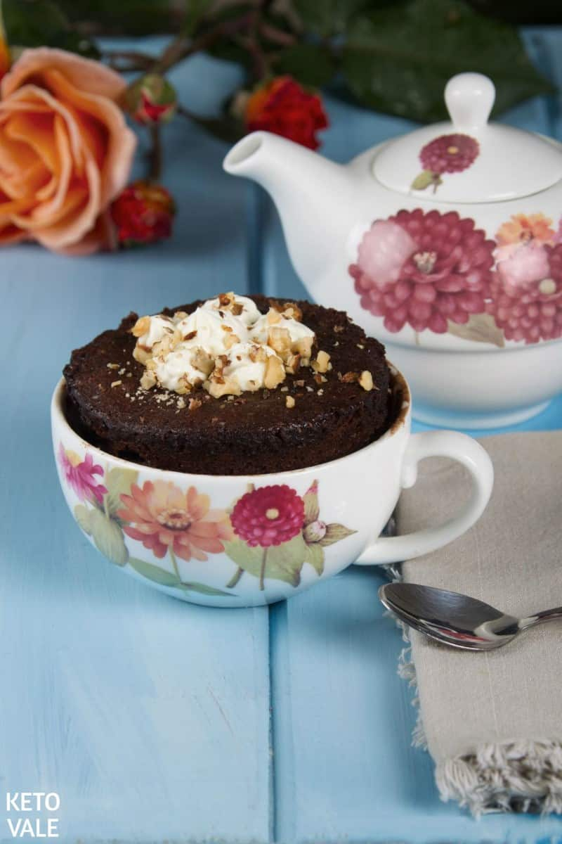 5-Minute Keto Chocolate Cake in a Mug Low Carb Recipe | Keto Vale