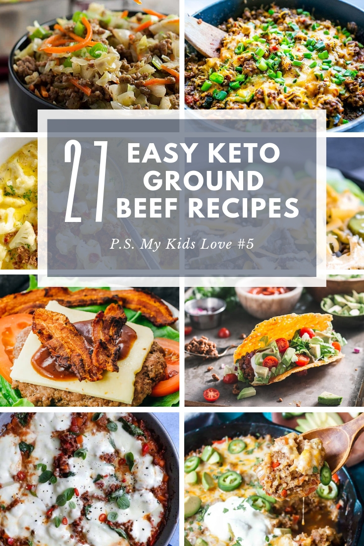 We've put together 27 of the best keto ground beef recipes for easy and delicious low carb dinners.   From Mexican to Asian to one pot wonders to comfort food favorites, you'll want to save this pin and refer to it often for simple weeknight meals to weekend treats.  #ketorecipes #easyketo