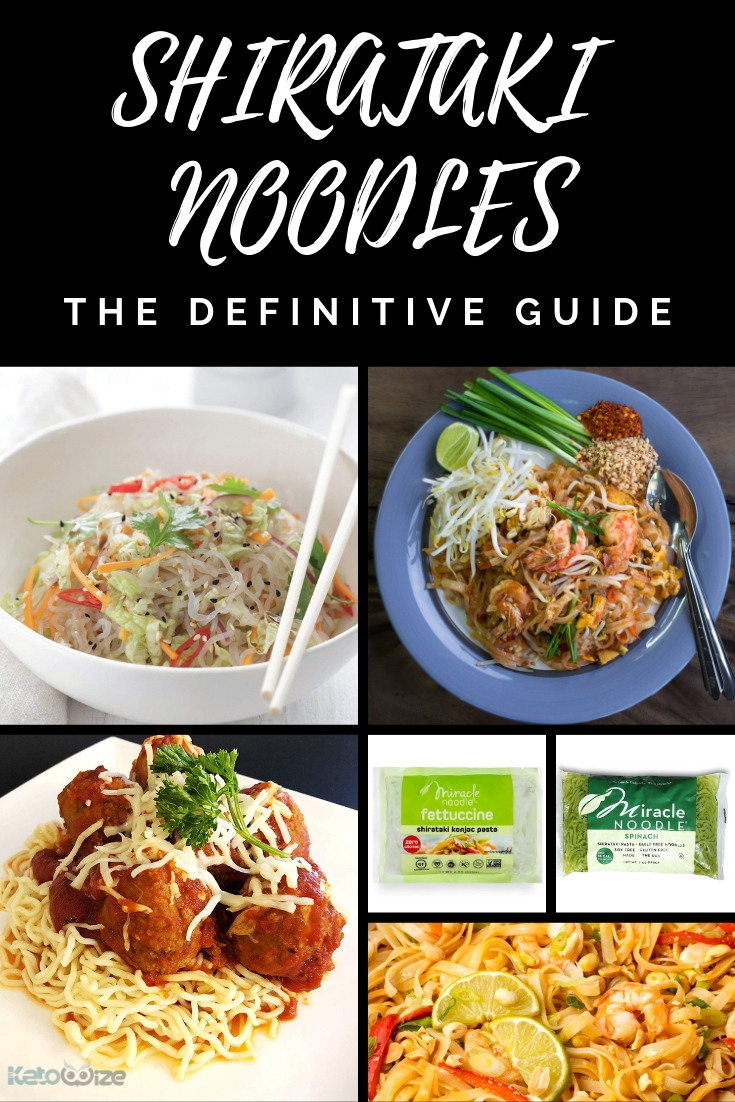 We\'ve put together the best guide to Shirataki Noodles - the low carb alternative to pasta and rice noodles.  Use these no carb noodles to make pad thai, ramen, pho, spaghetti, mac and cheese and more.  We\'ve included delicious shirataki noodle recipes, plus info on how to cook and where to buy them.  This really is the definitive guide.  #shirataki #shiratakinoodles #lowcarbpasta