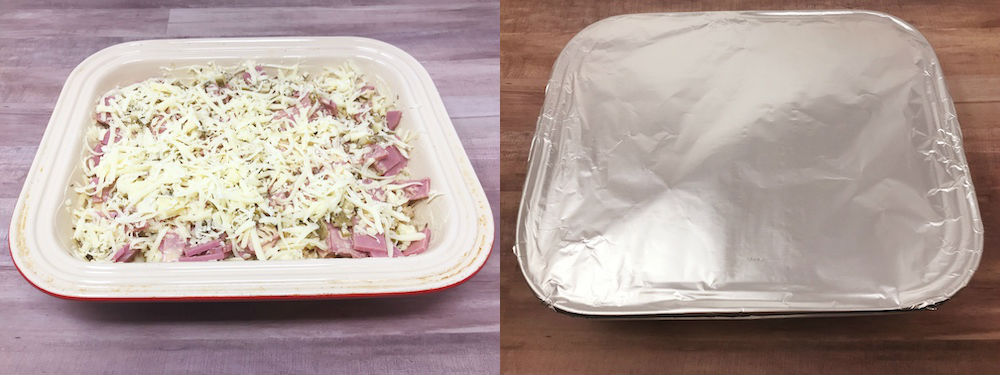layered and foiled keto reuben casserole