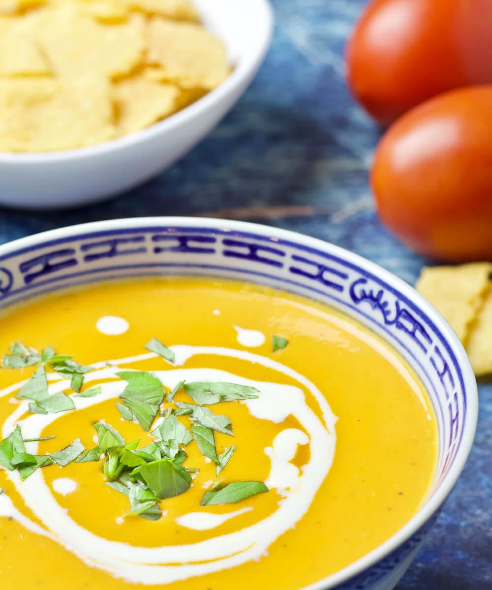 Creamy Keto Low Carb Tomato Bisque Recipe - Cropped