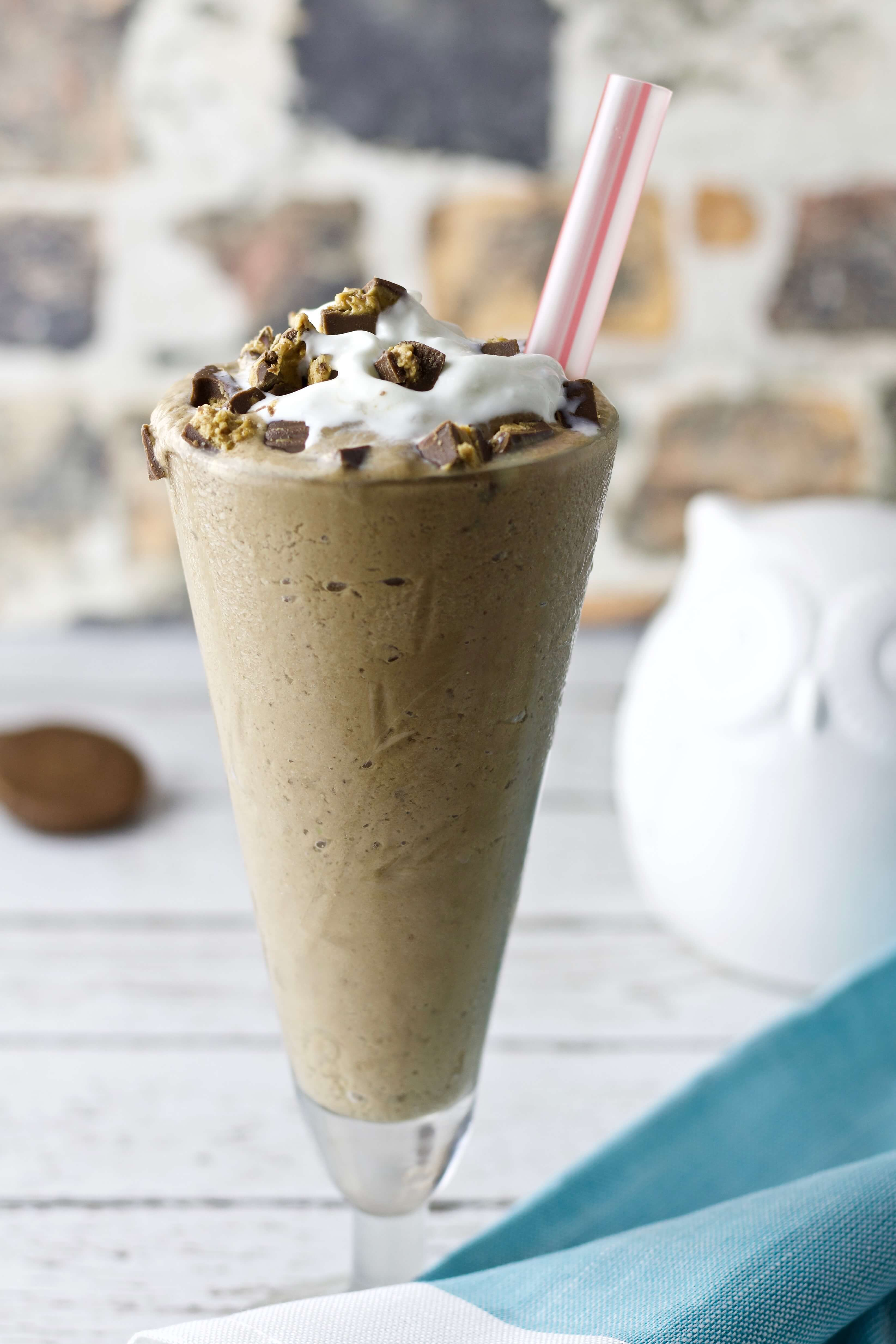 Easy Keto Fat Bomb Reese's Cup Milkshake With Straw