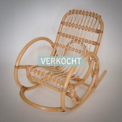 Vintage Jaren 70 Schommelstoel Kinderstoel Gebogen Rotan Sierlijke Vormen