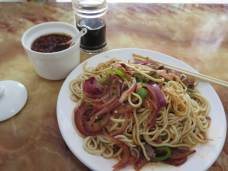 Lanzhou la mian. The best noodles in China, which also happen to be everywhere in China. Western Chinese style. A fresh plateful usually costs about 10 yuan, or $1.50.