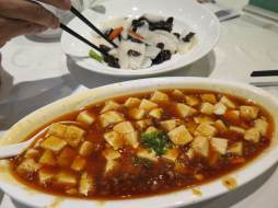 Mapo doufu. The best tofu in all of China. Of course, it's from Sichuan province, which is known for its firey spices. Even though it's tofu, sometimes this dish is made with pork in the sauce, because vegetarianism hasn't really made it to most of China – except the Buddhists.