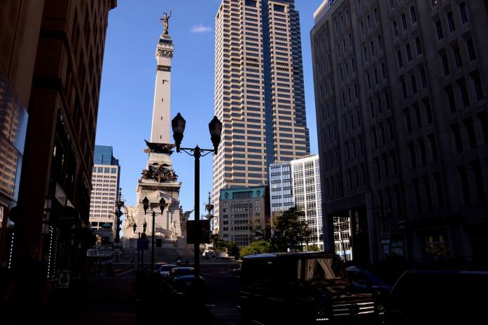 The Soldiers and Sailors Monument, downtown Indianapolis' central landmark.  ©KettiWilhelm2019