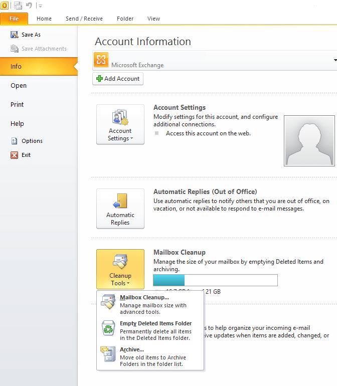 Archive Menu in Outlook 2010
