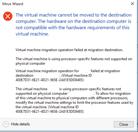 The Virtual machine cannot be moved to the destination computer
