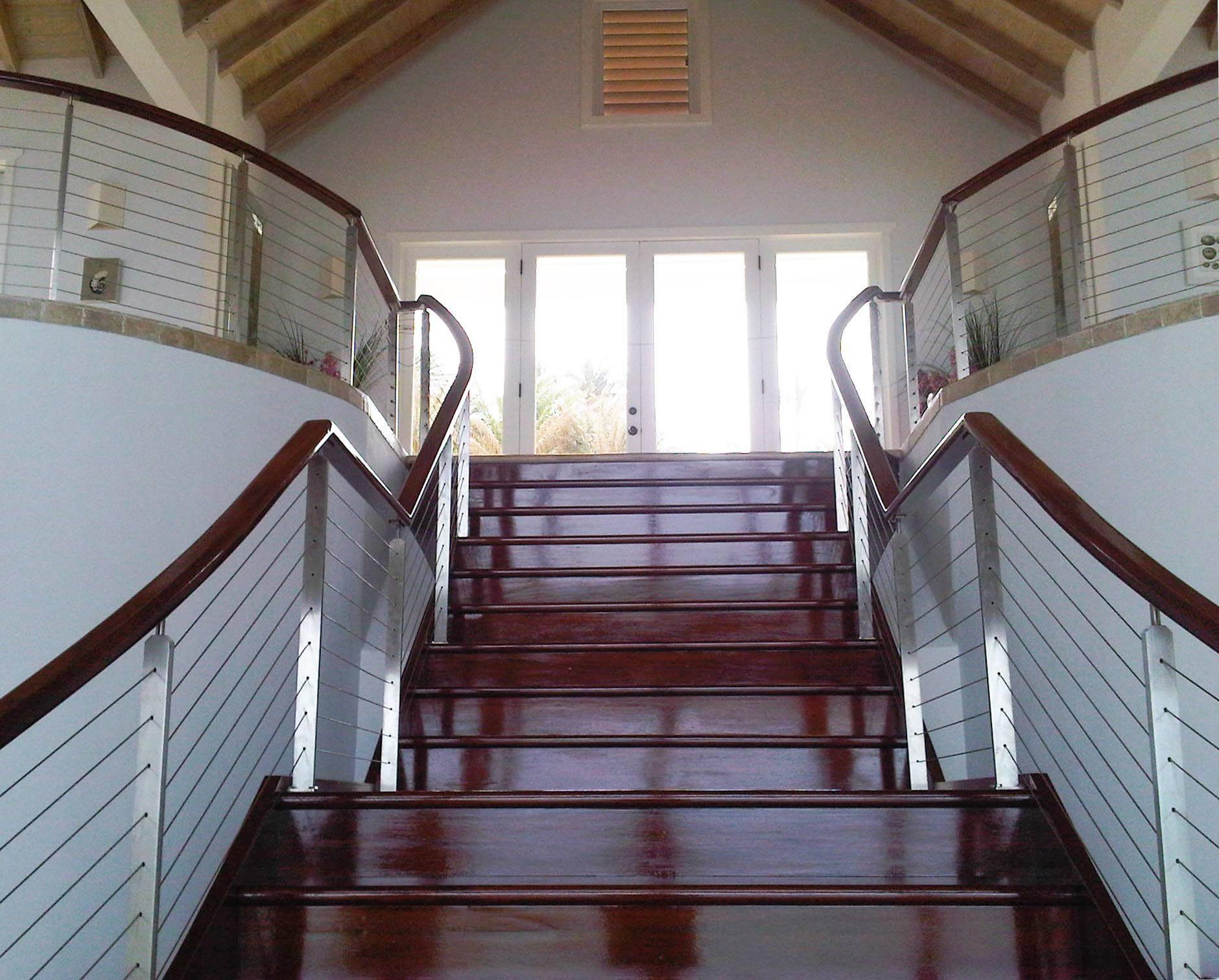 Stainless Steel Stair Railing Long Bay Antigua Keuka Studios   Ss Handrails For Stairs   Building   Glass   Horizontal   Flat Steel   Mild Steel Handrail