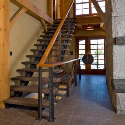 Rustic Stair Railing System With Custom Posts Keuka Studios | Rustic Banisters And Railings | House | Pallet | Veranda | Farmhouse | Solid Wood