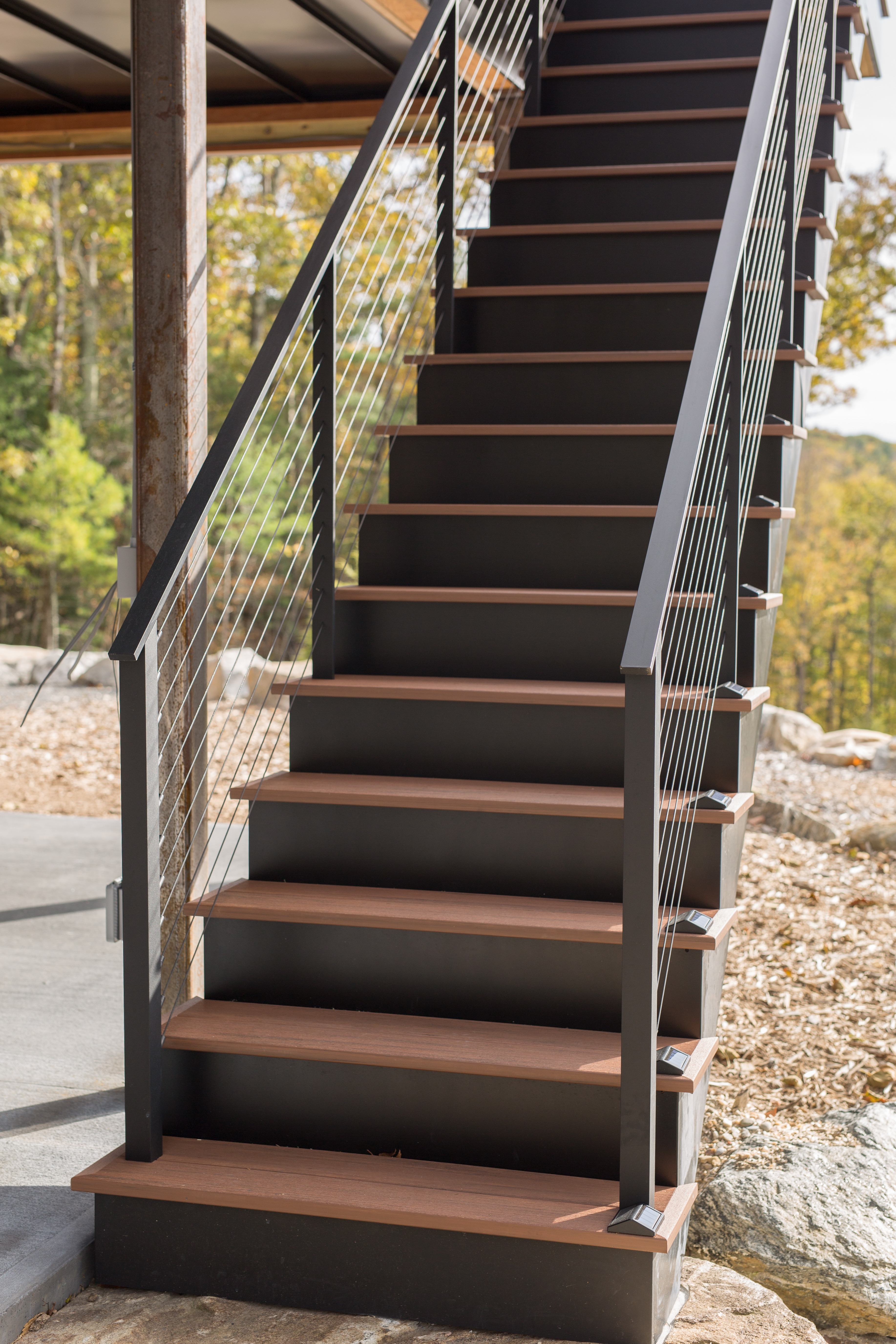 Black Cable Railing Berkshires Ma Keuka Studios | Metal Railing Stairs Outdoor | Stair Treads | Aluminum | Railing Ideas | Wrought Iron | Spiral Staircase