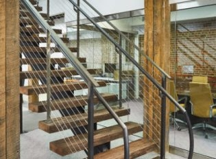 Bare Steel Mono Stringer Stairs And Cable Railing Philadelphia | Steel Stair Stringer Design | Exterior | Free Standing | Indoor | Modern | Staircase Bar Length