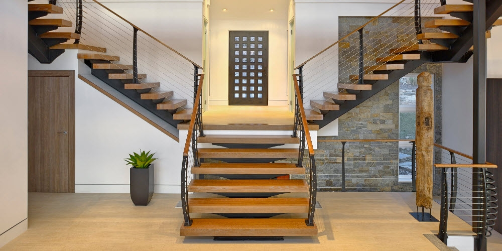 The Best Cable Railing You Can Buy Top 10 Reasons Keuka Studios   Wood And Wire Stair Railing   Hampton Style   Exterior   Closed Staircase   Horizontal Round Bar   Square Wire