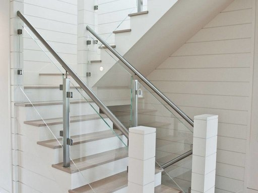 Custom Glass Railing For Stairs And Decks Keuka Studios | Stair Railing Glass Panel | Tempered Glass | Wood | Stainless Steel Railing Systems | Base Shoe | Aluminum