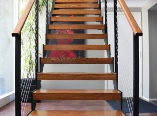 Mid–Century Modern Home Open Stairs Pittsford Ny Keuka Studios | Mid Century Modern Stair Handrail | Wrought Iron | Basement | Bannister | Modern Style | Contemporary Curved Staircase