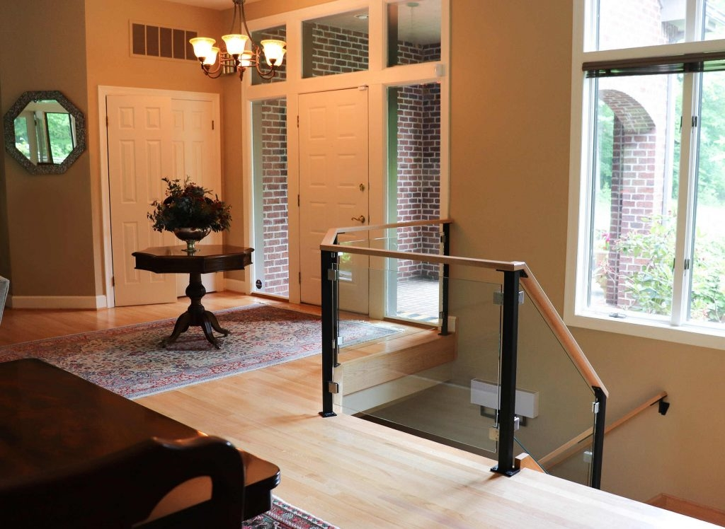 Custom Glass Railing For Stairs And Decks Keuka Studios   Staircase Wood And Glass   Commercial Wood   New   Ash Wood   Simple Glass   Glass Bal