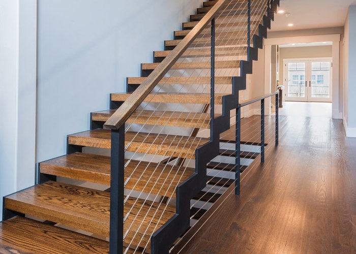 6 Types Of Stair Treads What To Know Before Choosing Various   Barn Wood Stair Railing   Industrial   Farmhouse   Wood Plank   Entryway Stair   Upstairs