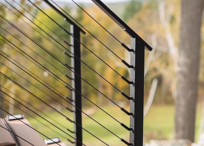 Black Stainless Steel Cable Railing And Fittings Keuka Studios | Black Steel Stair Railing | Custom | Wood | Residential Indoor Residential Glass | Stainless Steel | Concrete