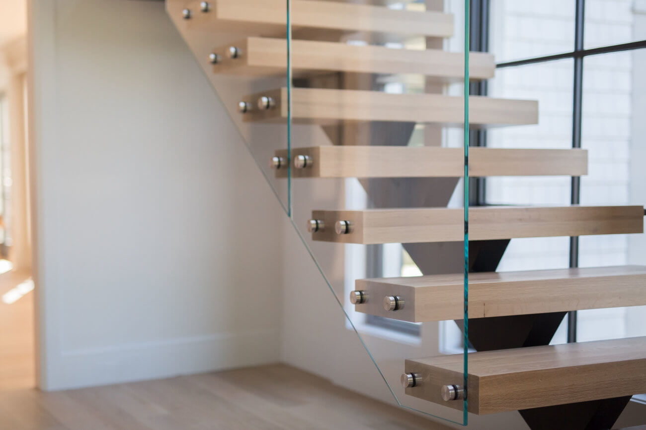 Glass Staircase Home Remodel Riverside Ct Keuka Studios   White And Glass Staircase   Step   Before And After   Handrail   Stained   Oak