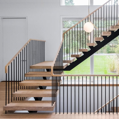 Steel Spindle Railing On Floating Stairs – Hamptons Ny Keuka   Oak Handrail White Spindles   Stair Square Spindle   Staircase   Switchback Stair   Goes Golden Oak Staircase   Replacement