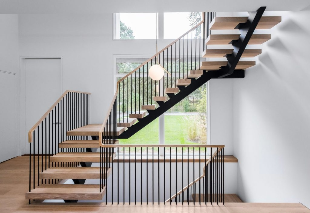 How Much Do Custom Floating Stairs Cost Keuka Studios | Stair Railing Cost Per Linear Foot | Rod Railing | Stair Case | Pressure Treated | Average Cost | Wrought Iron Railings