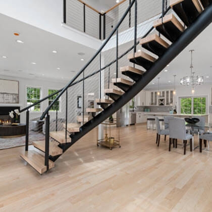 Cable Railing Custom Stairs Project Gallery Keuka Studios | Modern Cable Stair Railing | Entry Foyer | Staircase Remodel | Stair Treads | Glass Railing | Deck Railing
