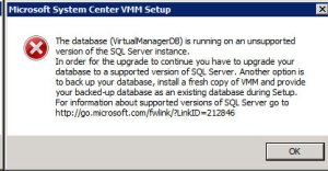 System Center VMM 2012 - Upgrade SQL