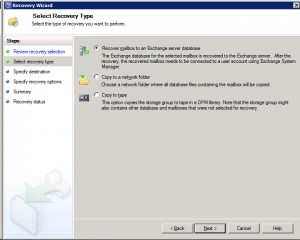 System Center Data Protection Manager 2012 - Select Recovery Type
