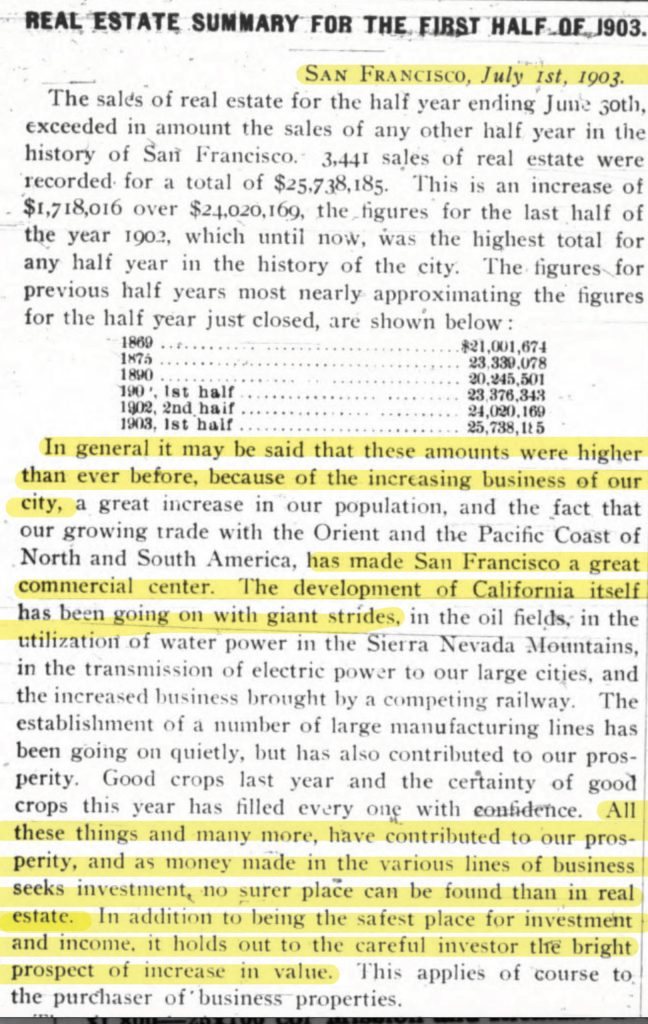 From 1903, a real estate summary