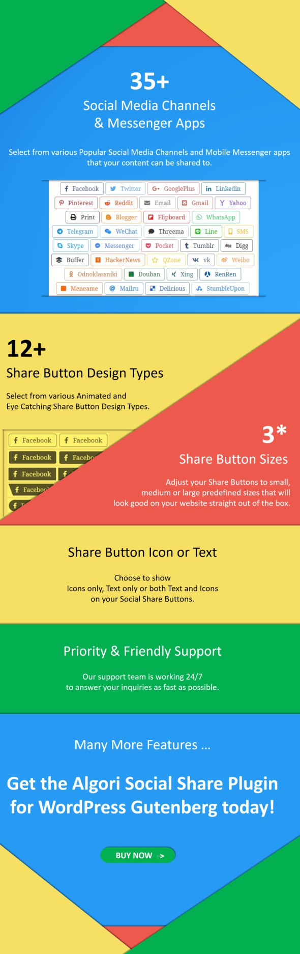 Featyres for Algori Social Share Buttons Pro WordPress Gutenberg Block Plugin