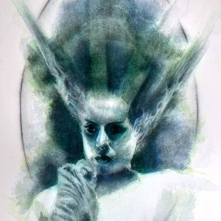Bride of Frankenstein Watercolor MeatRoots Art