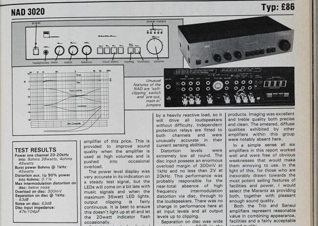 NAD 3020 amplifier review c1978