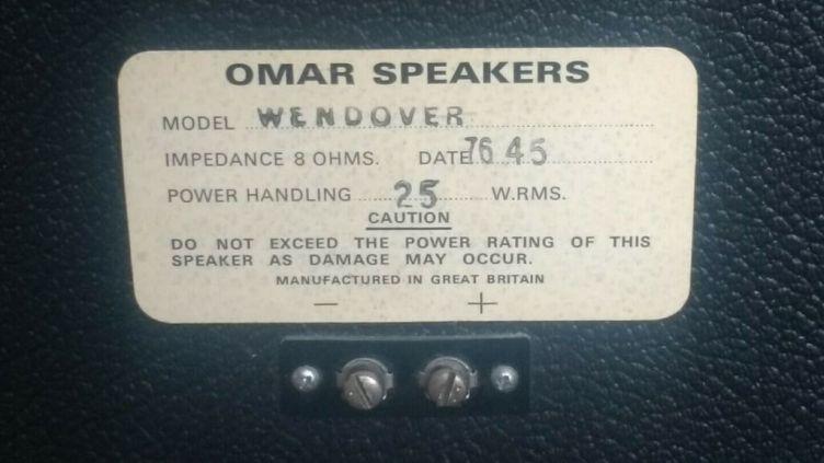 Omar Wendover loudspeakers - rear label panel
