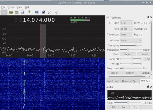 GQRX listening on 14.074MHz