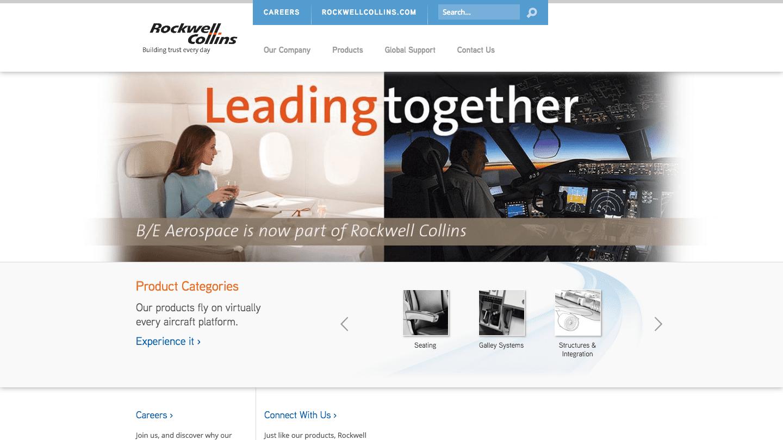 Screenshot of B/E Aerospace's WordPress powered website