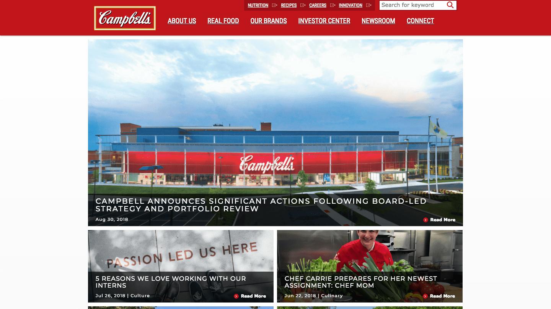 Screenshot of Campbell Soup's WordPress powered website