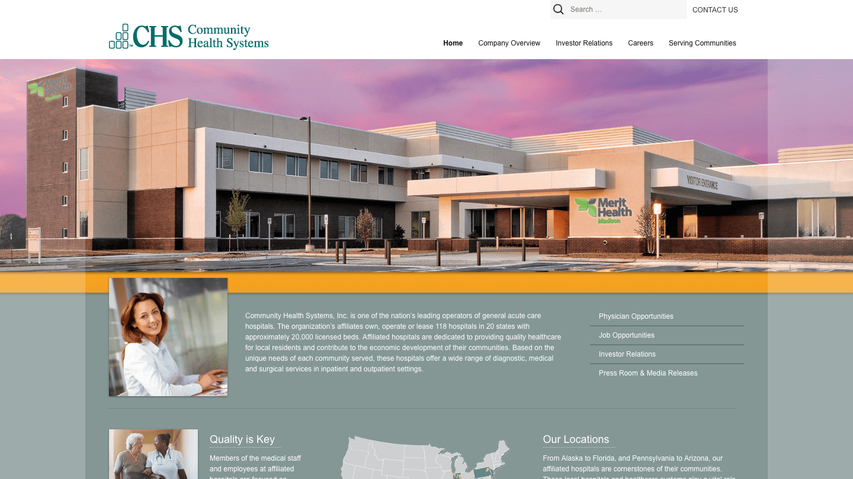 Screenshot of Community Health Systems's WordPress powered website
