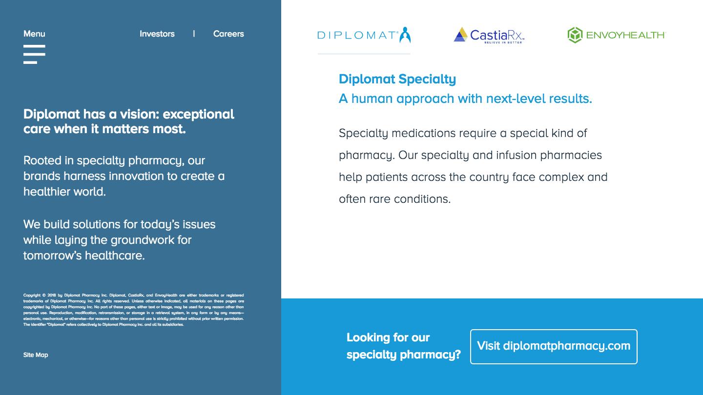 Screenshot of Diplomat Pharmacy's WordPress powered website