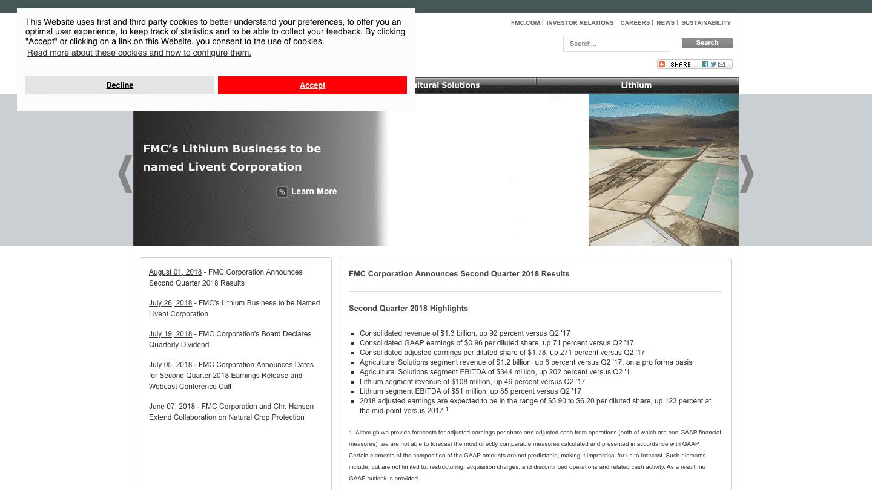 Screenshot of FMC's WordPress powered website