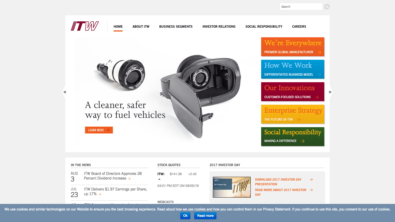 Screenshot of Illinois Tool Works's WordPress powered website