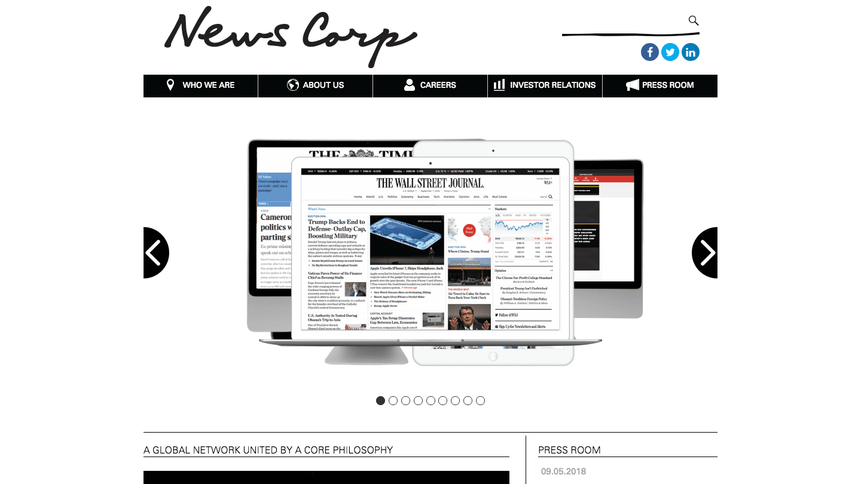Screenshot of News Corp.'s WordPress powered website