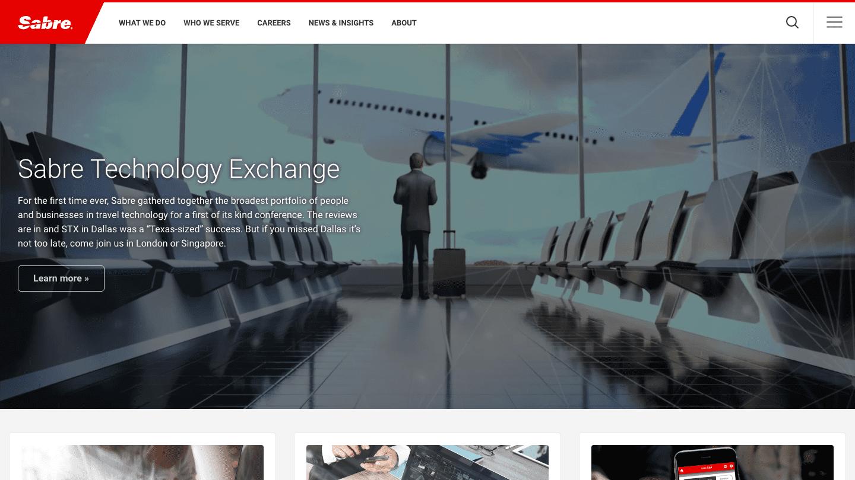 Screenshot of Sabre's WordPress powered website