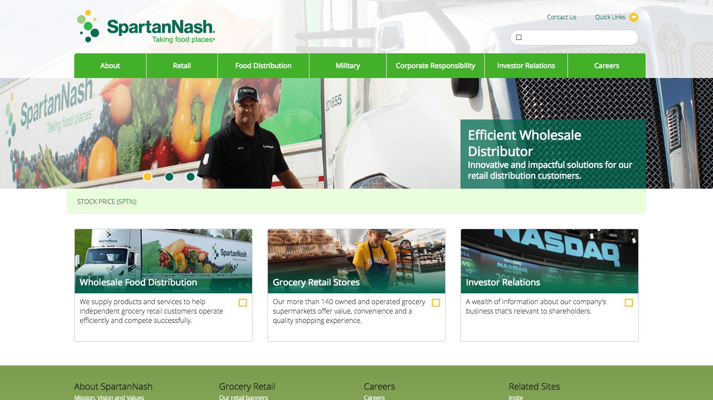 Screenshot of SpartanNash's WordPress powered website