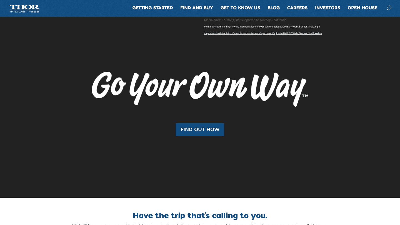 Screenshot of Thor Industries's WordPress powered website