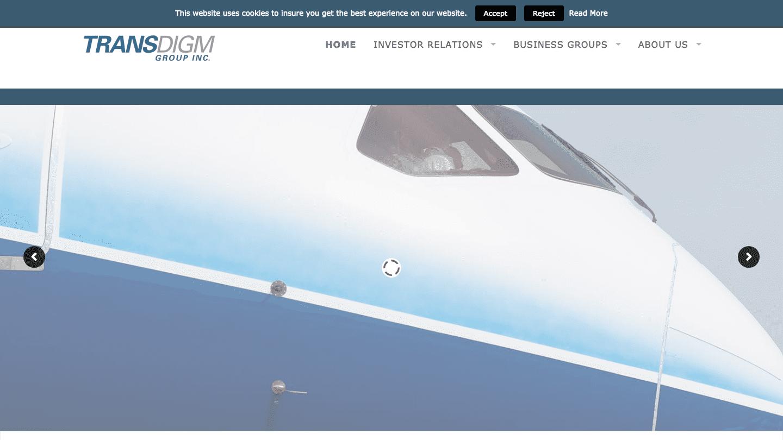 Screenshot of TransDigm Group's WordPress powered website